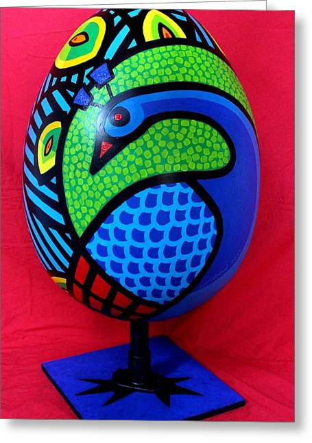 Animals Sculptures Greeting Cards - Peacock Egg Greeting Card by John  Nolan