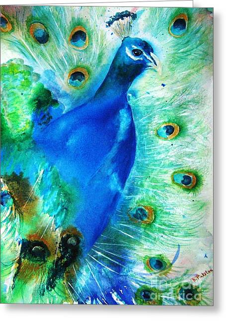 Impressionism Paintings Greeting Cards - Peacock Fantasy II Greeting Card by BJ Pinkston