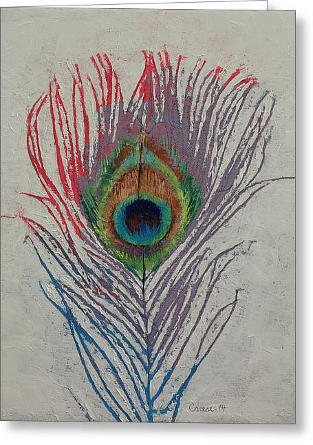 Peacock Feather Greeting Card by Michael Creese