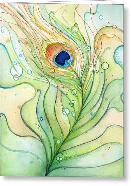 Themes Greeting Cards - Peacock Feather Watercolor Greeting Card by Olga Shvartsur