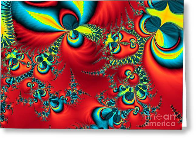 Algorithmic Abstract Greeting Cards - Peacock Fractal Greeting Card by Ian Mitchell