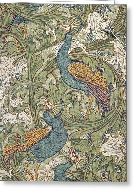 Repetition Greeting Cards - Peacock Garden wallpaper Greeting Card by Walter Crane