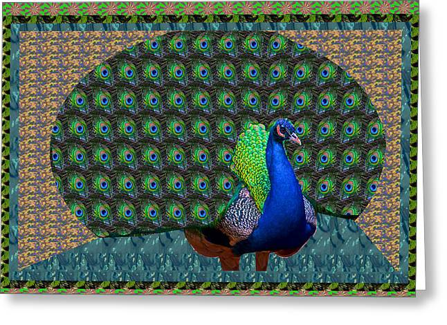 Peacock Graphic Design Based On Photographic Image Artist Navinjoshi Greeting Card by Navin Joshi