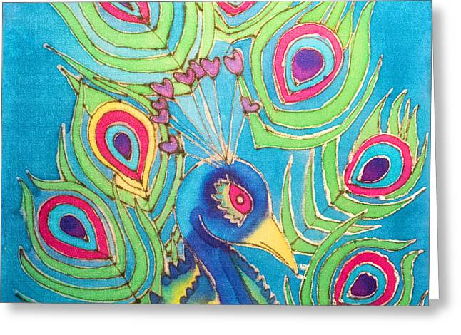 Color Colorful Tapestries - Textiles Greeting Cards - Peacock Hues Greeting Card by Kelly  ZumBerge