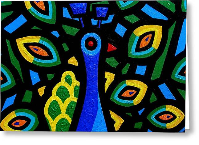 Metal Art Greeting Cards - Peacock III Greeting Card by John  Nolan