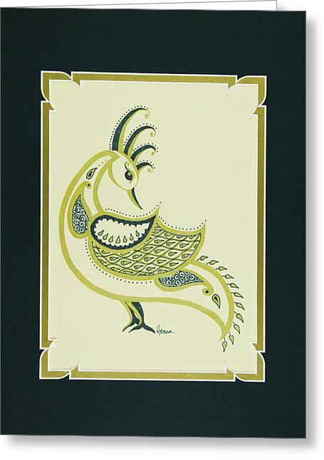 Matting Greeting Cards - Peacock in Green Right Facing Greeting Card by Hema Narayanan