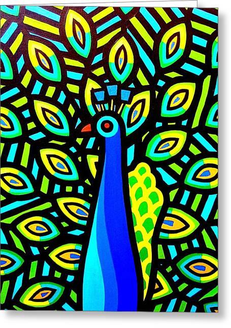Tropical Bird Art Print Greeting Cards - Peacock IV Greeting Card by John  Nolan