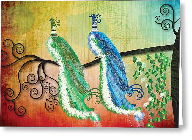 New Age Greeting Cards - Peacock Love Greeting Card by Kim Prowse