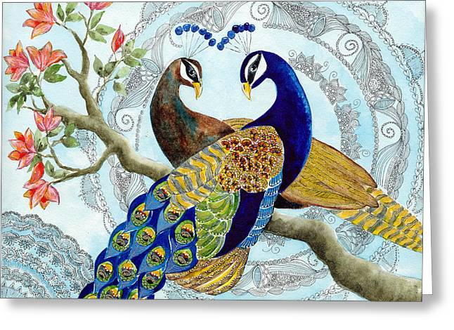 Peacock Love Greeting Card by Susy Soulies