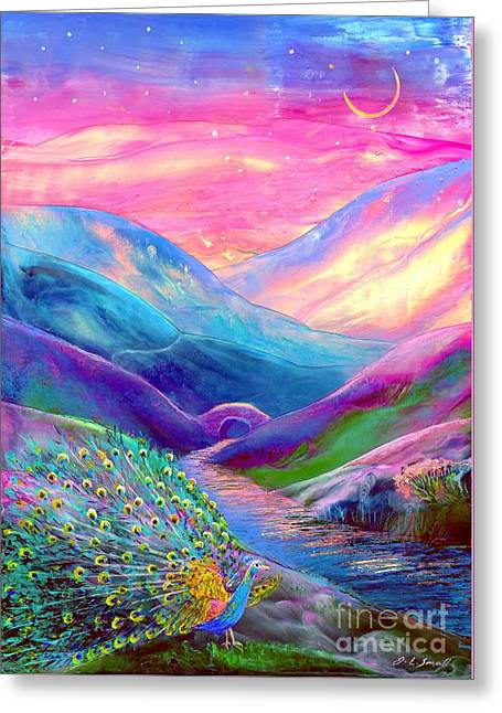 Sunset Scene Greeting Cards - Peacock Magic Greeting Card by Jane Small