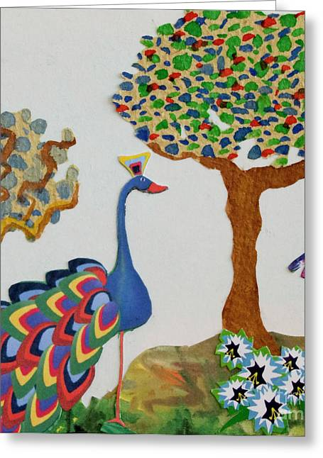 Illustrative Mixed Media Greeting Cards - Peacock Greeting Card by Michele Fritz