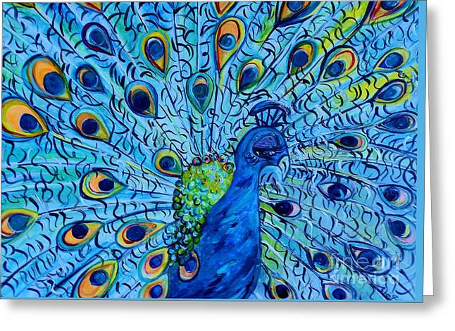 Tropic Greeting Cards - Peacock on Blue Greeting Card by Eloise Schneider