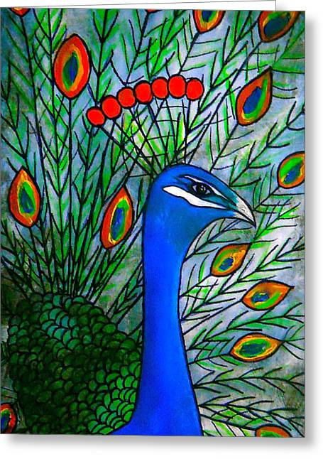 Laura Carter Greeting Cards - Peacock Painting Fine Art Print Greeting Card by Laura  Carter