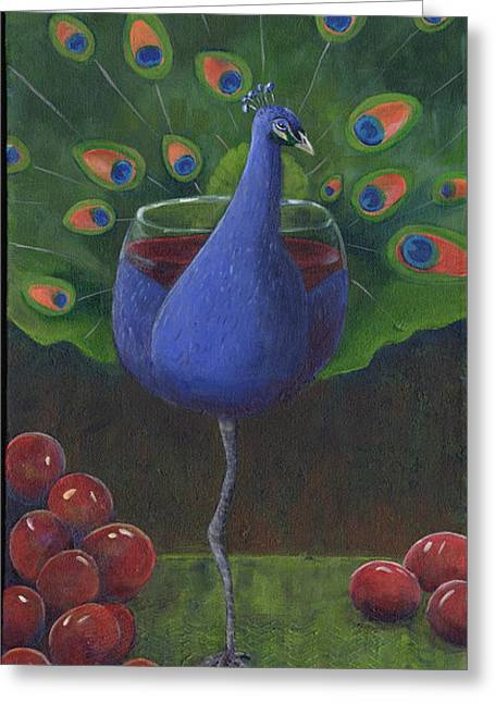 Pinot Noir Greeting Cards - Peacock Pinot Greeting Card by Debbie McCulley