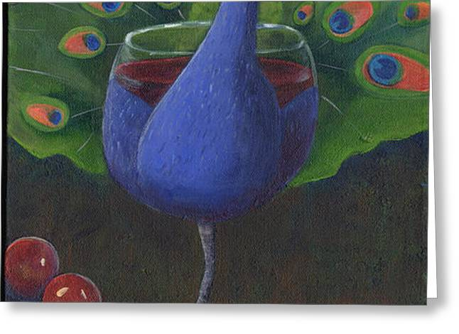 Peacock Pinot Greeting Card by Debbie McCulley