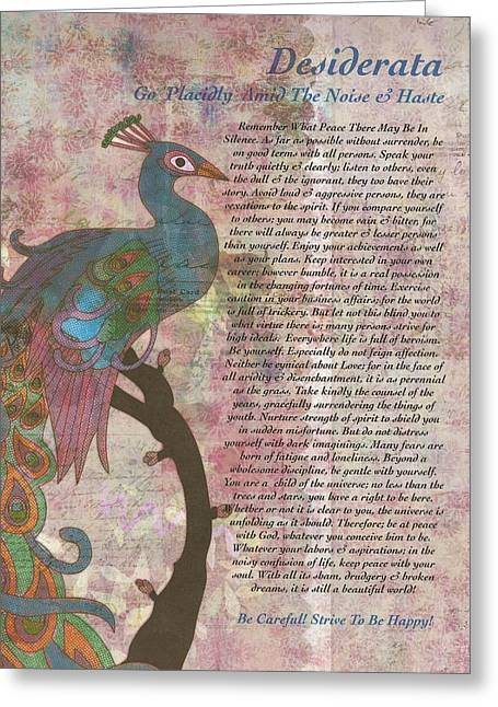 Motivational Poster Drawings Greeting Cards - Peacock Pointing to Desiderata Greeting Card by Desiderata Gallery