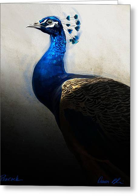 Wildlife Digital Art Greeting Cards - Peacock Portrait Greeting Card by Aaron Blaise