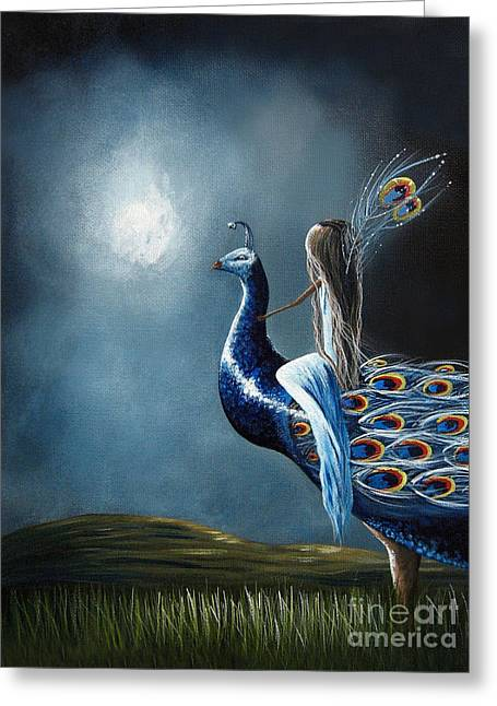 Peacock Princess By Shawna Erback Greeting Card by Shawna Erback