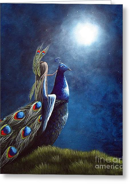 Faery ists Paintings Greeting Cards - Peacock Princess II by Shawna Erback Greeting Card by Shawna Erback