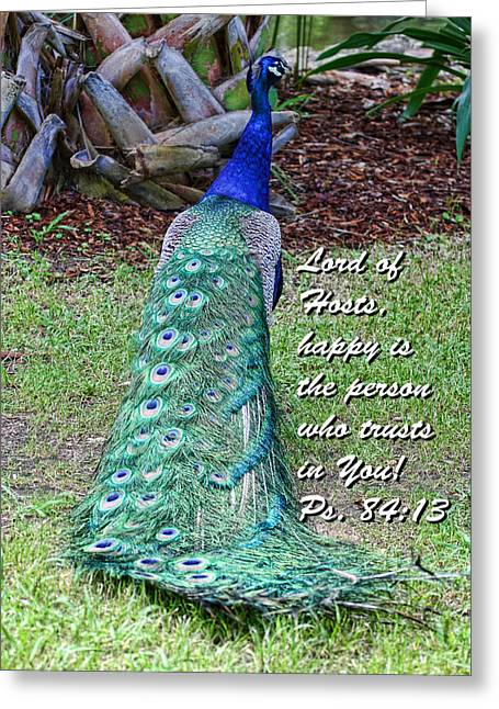 Peacock Psalms 84v13 Greeting Card by Linda Phelps
