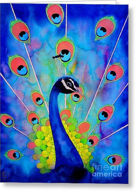 Peacock Greeting Card by Robert Hooper