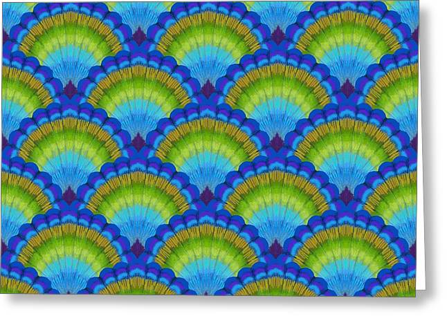 Green And Blue Greeting Cards - Peacock scallop feathers Greeting Card by Kimberly McSparran