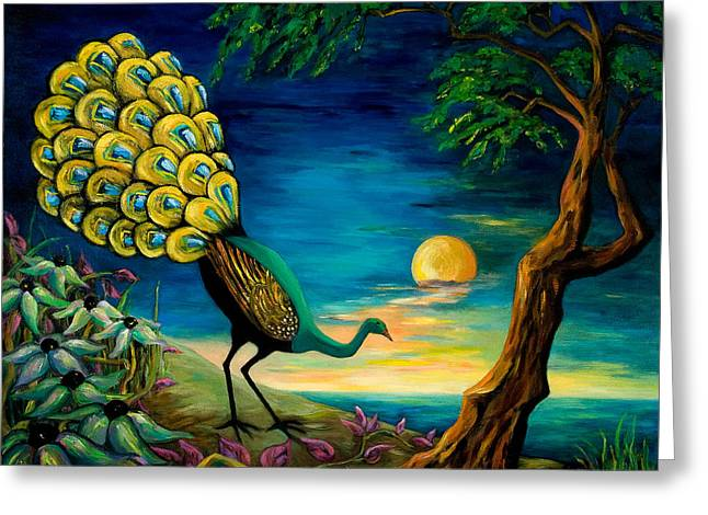 Nocturnal Paintings Greeting Cards - Peacock Strolls on the Beach Greeting Card by Larry Martin