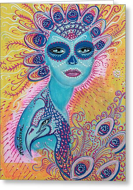 Mardi Gras Paintings Greeting Cards - Peacock Sugar Skull Greeting Card by Laura Barbosa