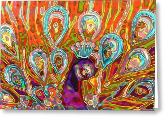 Artprint Greeting Cards - Peacock Surprise Greeting Card by Alec Drake
