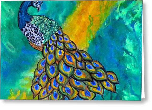 Acrylic Art Greeting Cards - Peacock Waltz II Greeting Card by Ella Kaye Dickey