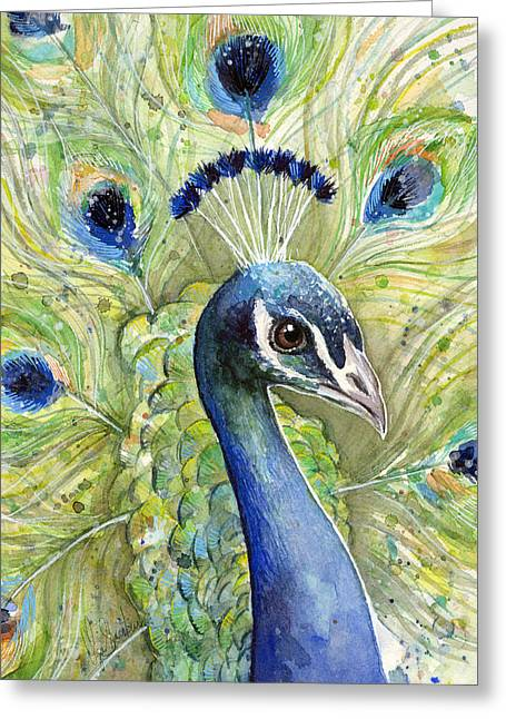 Animal Mixed Media Greeting Cards - Peacock Watercolor Portrait Greeting Card by Olga Shvartsur