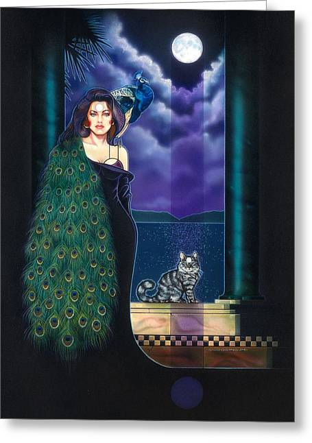 Cat Fantasy Greeting Cards - Peacock Woman Greeting Card by Tim  Scoggins
