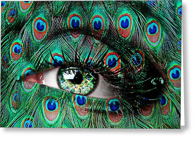 Face Paint Greeting Cards - Peacock Greeting Card by Yosi Cupano