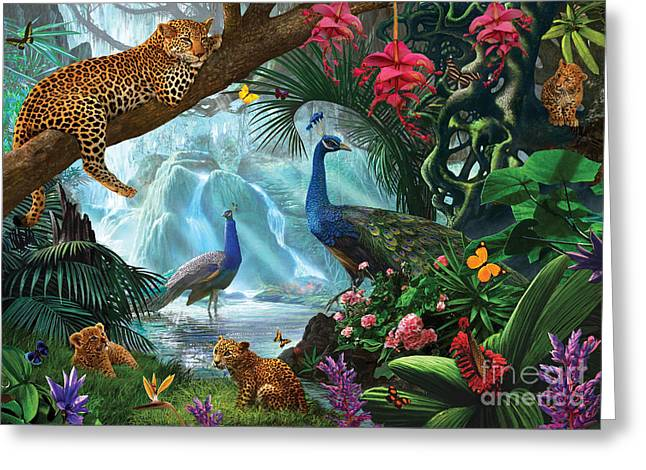 Crisp Digital Art Greeting Cards - Peacocks and Leopards Greeting Card by Steve Crisp