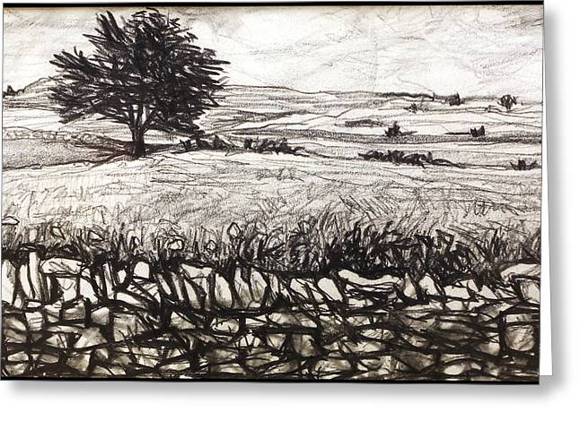 Stonewall Drawings Greeting Cards - Peak District Greeting Card by Paul Sutcliffe