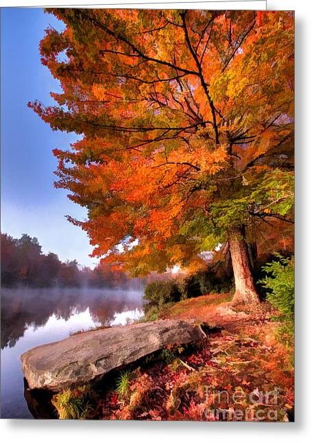 Paint Photograph Greeting Cards - Peak of Color - Blue Ridge Parkway Price Lake Greeting Card by Dan Carmichael