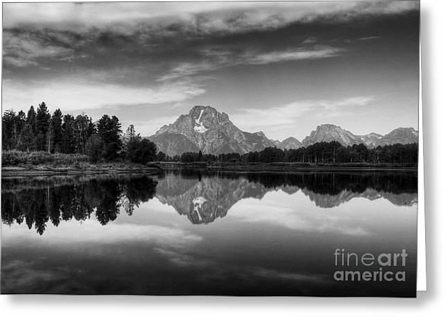 White River Scene Greeting Cards - Peak Reflections 6 BW Greeting Card by Mel Steinhauer