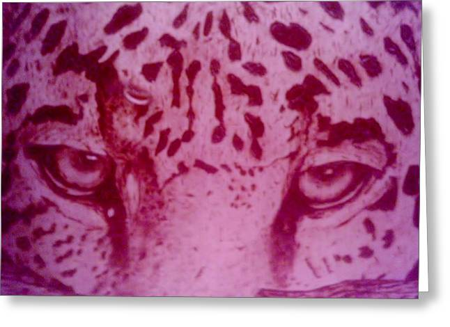 Jaguars Pyrography Greeting Cards - Peakaboo Greeting Card by Frank Carron