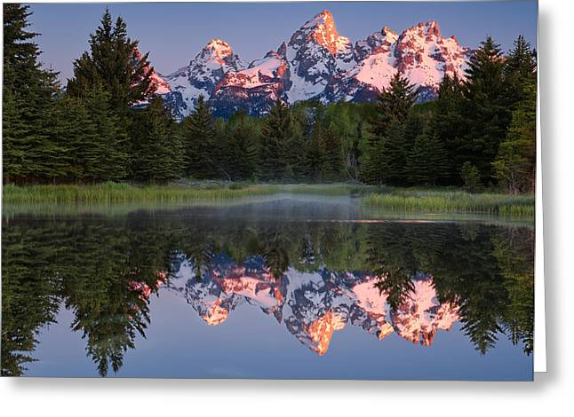Pond Grand Tetons Greeting Cards - Peaks at Schwabacher Landing Greeting Card by Michael Blanchette