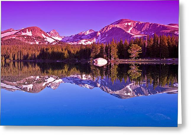 Mountain Reflection Lake Summit Mirror Greeting Cards - Peaks In The Mirror Greeting Card by Brian Kerls