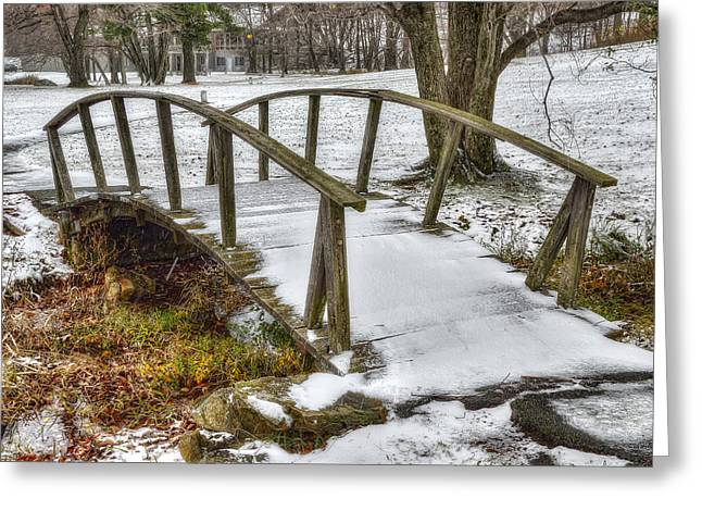 Snowy Stream Greeting Cards - Peaks of Otter Footbridge Greeting Card by Steve Hurt