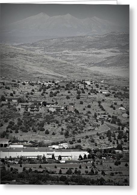 Prescott Greeting Cards - Peaks View from Prescott Black and White Greeting Card by Aaron Burrows