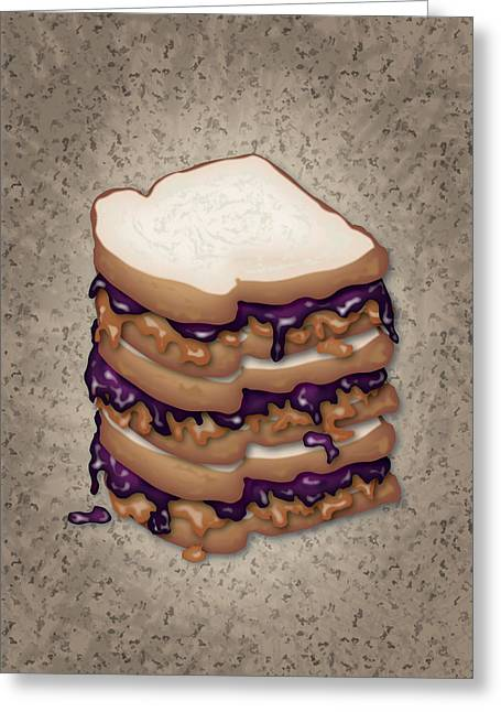 Toasting Digital Art Greeting Cards - Peanut Butter and Jelly Sandwich Greeting Card by Ym Chin
