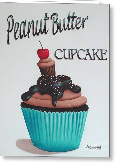 Primitive Decor Greeting Cards - Peanut Butter Cupcake Greeting Card by Catherine Holman