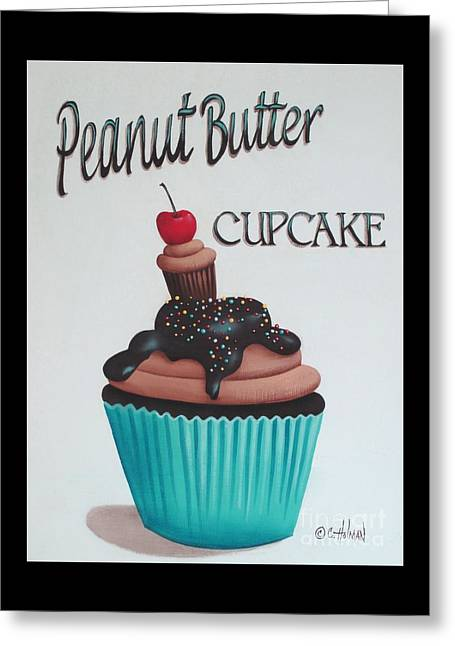 Cupcake Art Greeting Cards - Peanut Butter Cupcake Greeting Card by Catherine Holman
