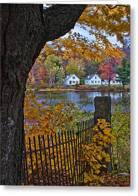 New England Village Greeting Cards - Peanut Row Cottages Greeting Card by Priscilla Burgers