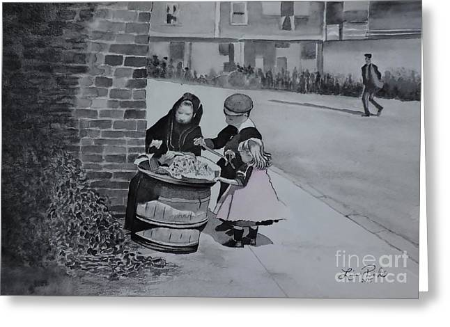 Glass Wall Greeting Cards - Peanut Seller circa 1900 Greeting Card by Lise PICHE
