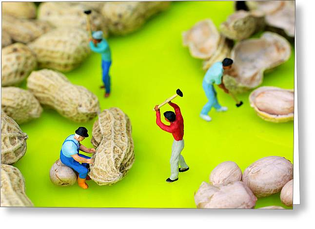 Creative People Greeting Cards - Peanut workers little people on food Greeting Card by Paul Ge