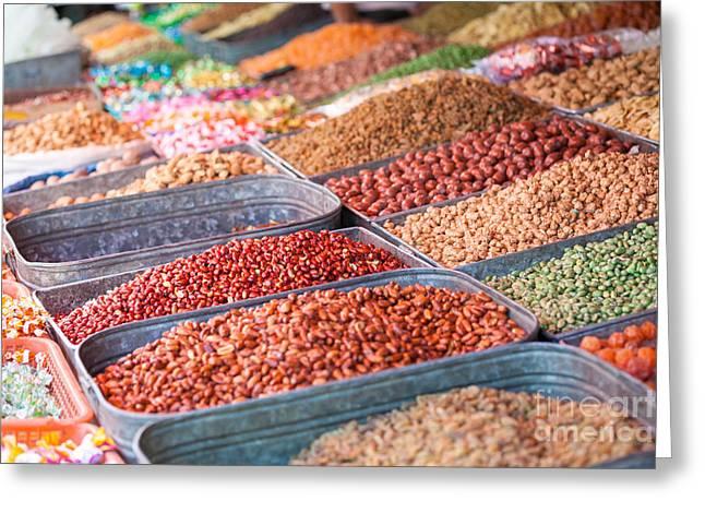 Local Food Photographs Greeting Cards - Peanuts at local market - Xinjiang - China Greeting Card by Matteo Colombo