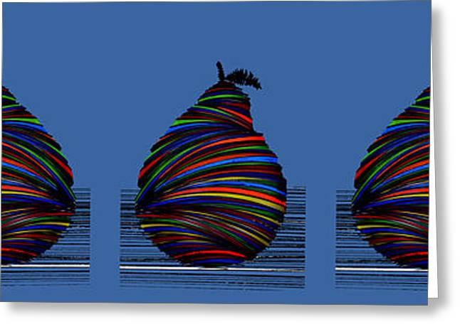 Famous Artist Greeting Cards - Pear 2007 Blue Greeting Card by Artist  Singh